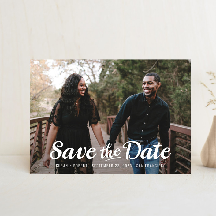 """Retro Script"" - Rustic Save The Date Postcards in Cotton by Hooray Creative."
