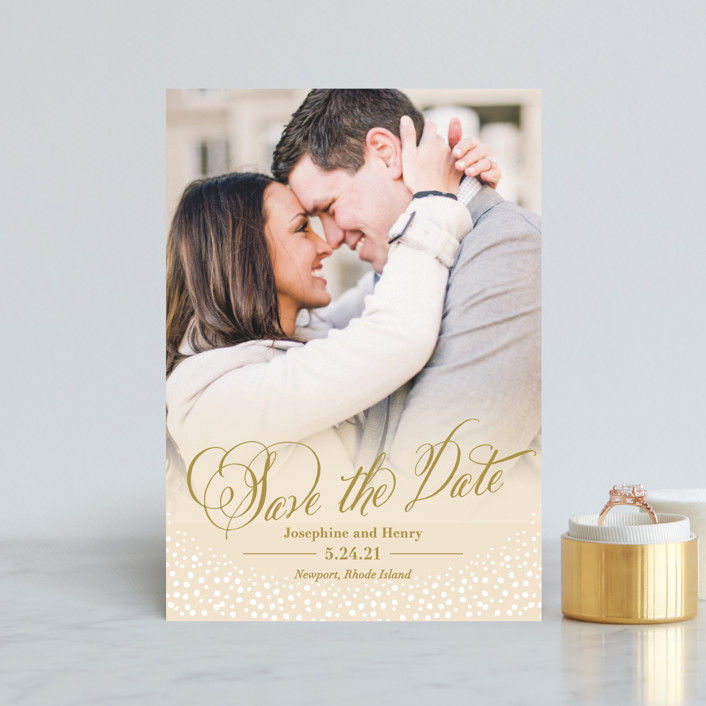 """""""Baby's Breath"""" - Save The Date Postcards in Cream by Laura Hankins."""