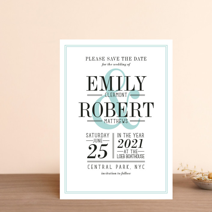 """""""Wed in Type"""" - Save The Date Postcards in Sky by Ariel Rutland."""