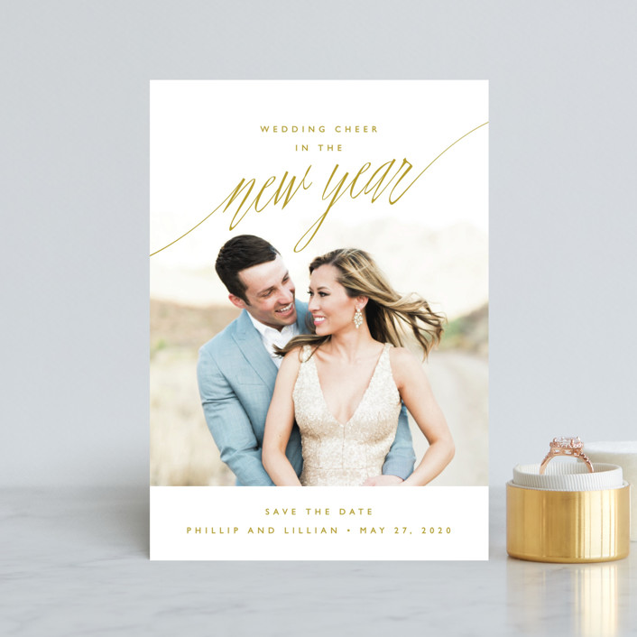 """New Adventures"" - Modern Save The Date Postcards in Onyx by Oscar & Emma."