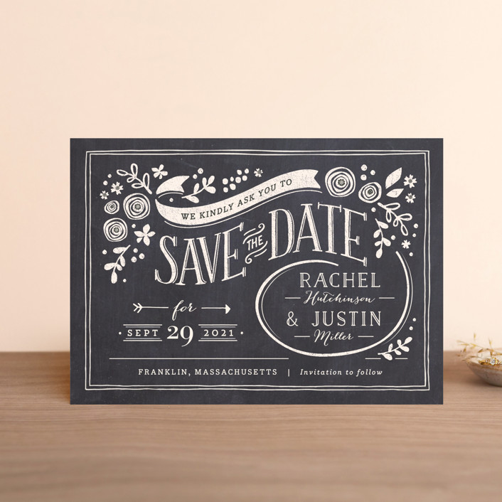 """Alabaster Florals"" - Rustic Save The Date Postcards in Slate by Jennifer Wick."