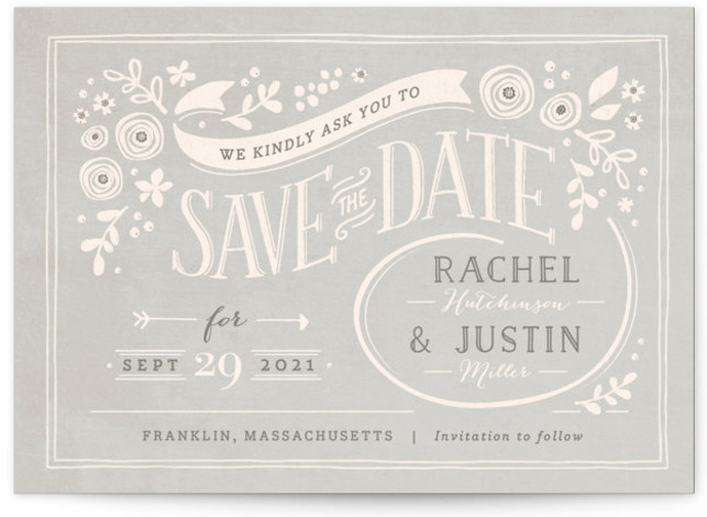 This is a landscape rustic, pink Save the Dates by Jennifer Wick called Alabaster Florals with Standard printing on Signature in Postcard Flat Card format. Smart and chic, our indie designed postcards let you announce your wedding date while saving ...