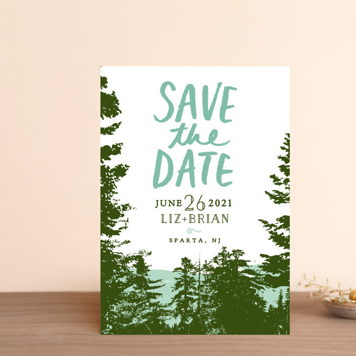 """Mountain View"" - Save The Date Postcards in Pine Green by Ariel Rutland."