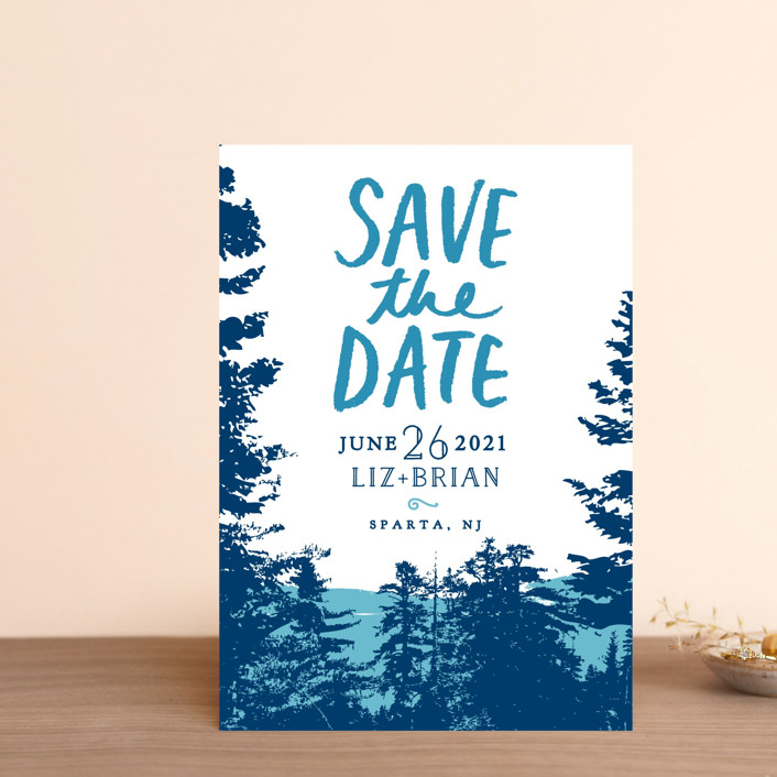 """""""Mountain View"""" - Save The Date Postcards in Pine Green by Ariel Rutland."""