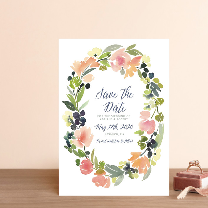 """""""Watercolor Wreath"""" - Save The Date Postcards in Grapefruit by Yao Cheng Design."""