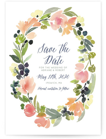 This is a portrait botanical, pink Save the Dates by Yao Cheng Design called Watercolor Wreath with Standard printing on Signature in Postcard Flat Card format. Smart and chic, our indie designed postcards let you announce your wedding date while ...