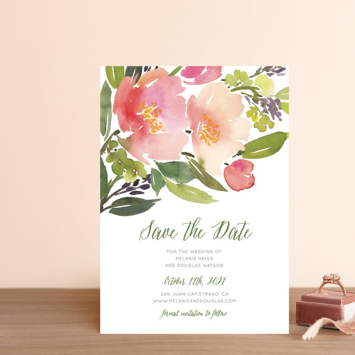 """""""Watercolor Floral"""" - Save The Date Postcards in Rose by Yao Cheng Design."""