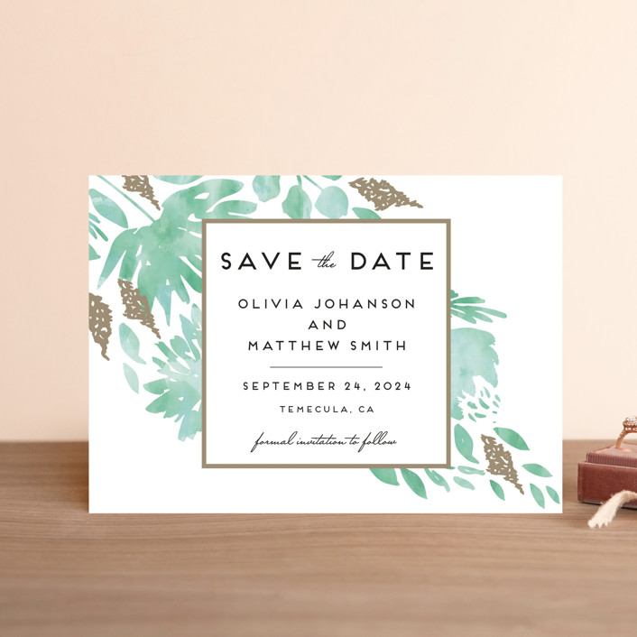 """""""Watercolor Delight"""" - Save The Date Postcards in Aqua by Petra Kern."""