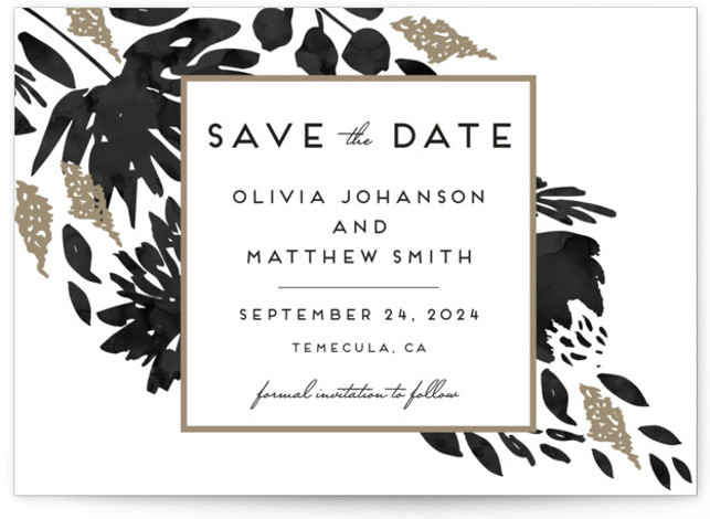 This is a landscape botanical, black and white Save the Dates by Petra Kern called Watercolor Delight with Standard printing on Signature in Postcard Flat Card format. Smart and chic, our indie designed postcards let you announce your wedding date ...