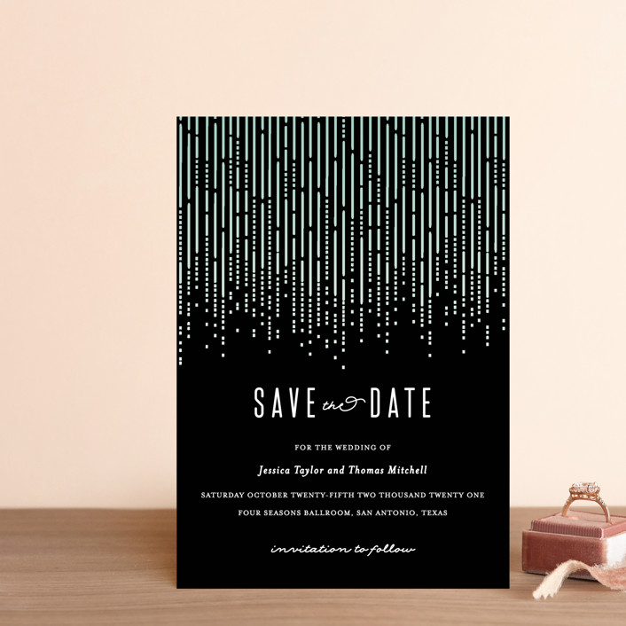 """""""Crystal Curtain"""" - Vintage Save The Date Postcards in Noir by Rebecca Bowen."""