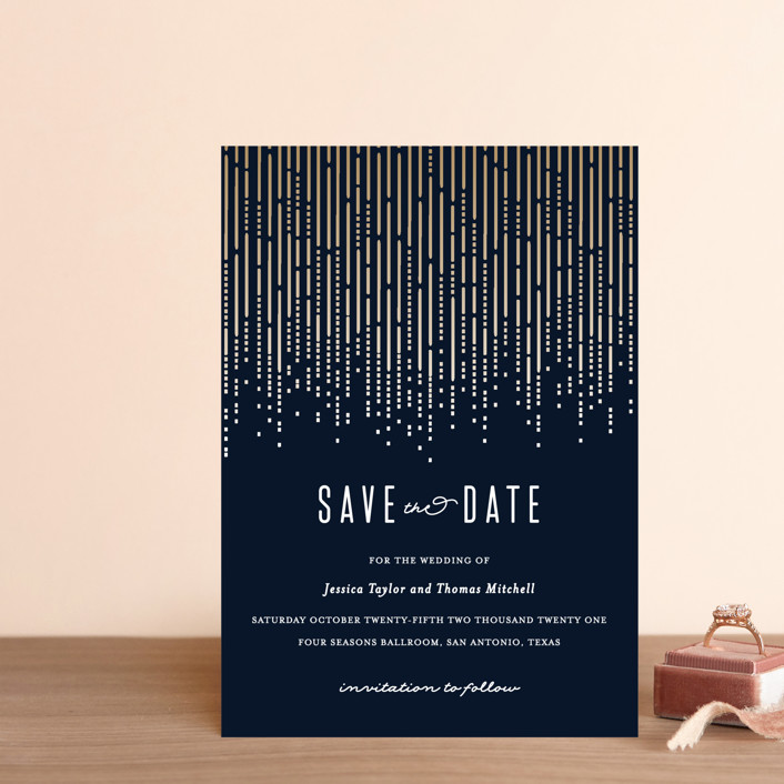 """""""Crystal Curtain"""" - Vintage Save The Date Postcards in Navy by Rebecca Bowen."""