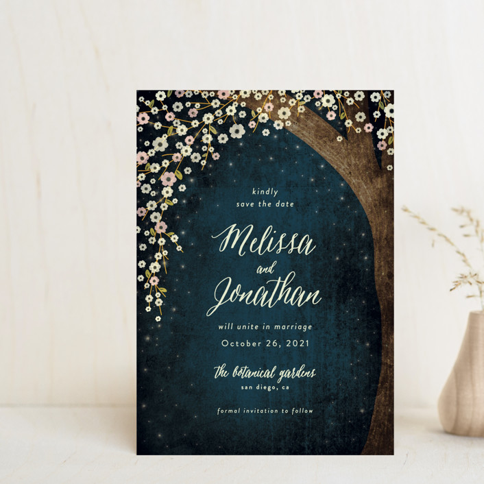 """""""Outside"""" - Save The Date Postcards in Navy by Rebecca Bowen."""