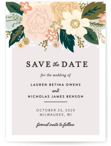 This is a portrait, square orientation botanical, colorful Save the Dates by Alethea and Ruth called Classic Floral with Standard printing on Signature in Postcard Flat Card format. Smart and chic, our indie designed postcards let you announce your wedding ...