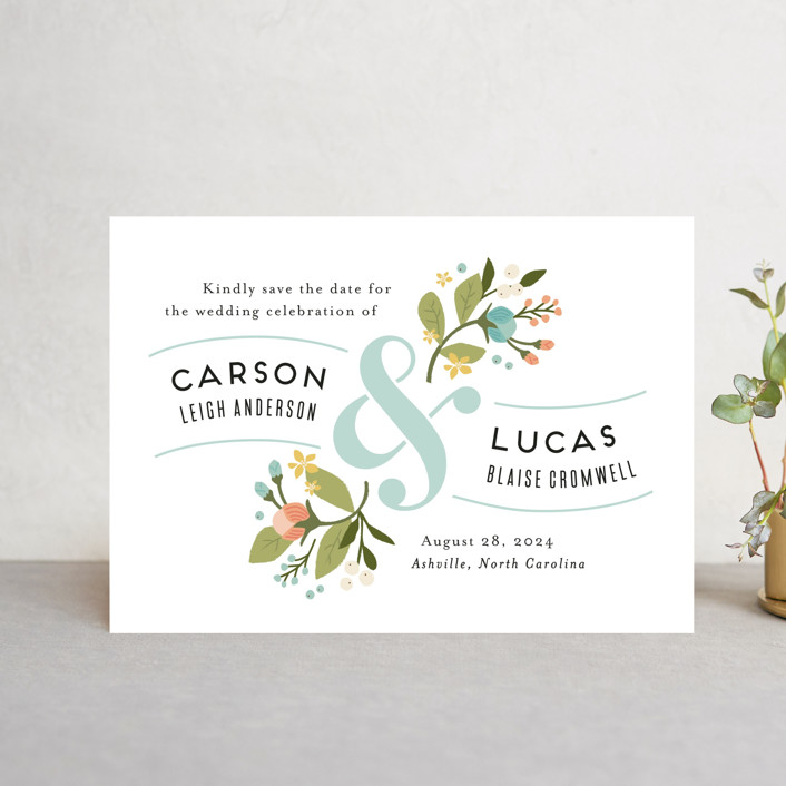 """""""Floral Ampersand"""" - Save The Date Postcards in Sea Breeze by Jennifer Wick."""