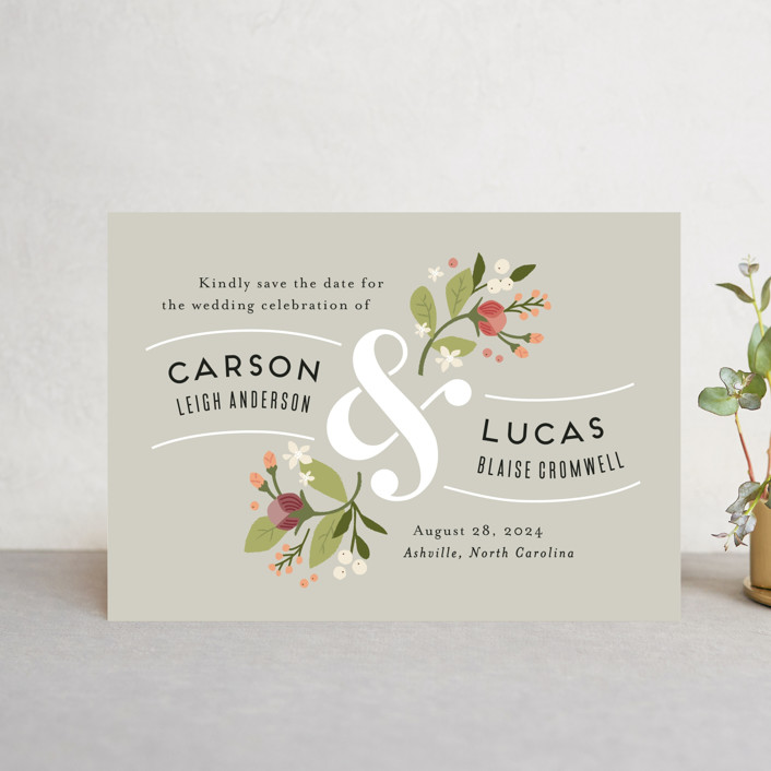"""""""Floral Ampersand"""" - Save The Date Postcards in Rosebud by Jennifer Wick."""