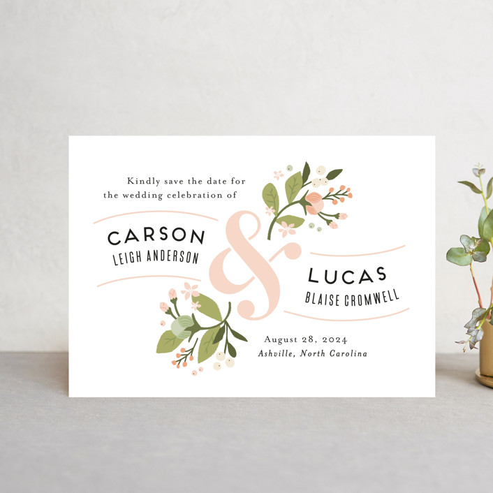 """Floral Ampersand"" - Save The Date Postcards in Rosebud by Jennifer Wick."