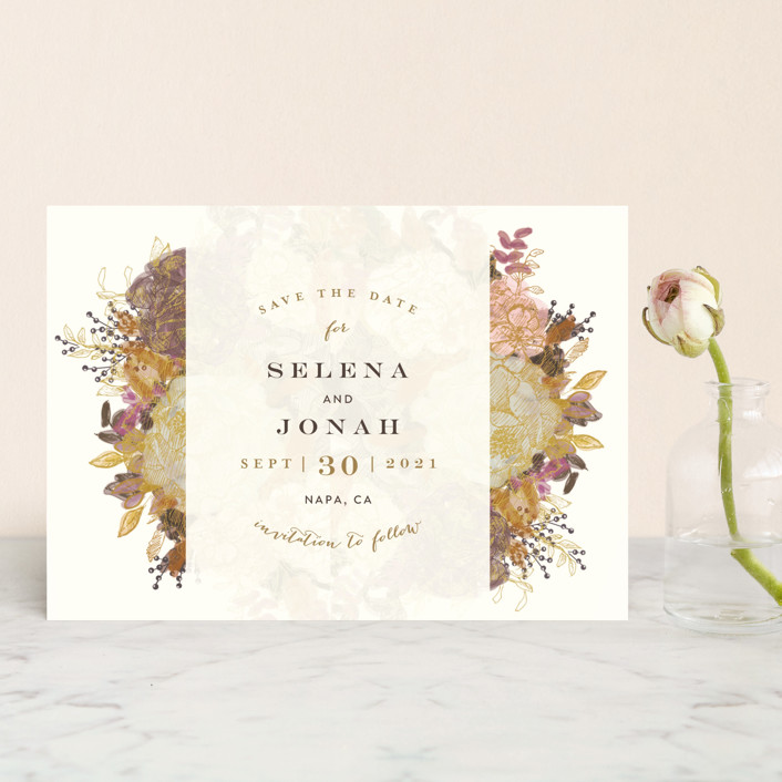 """""""Floral Feast"""" - Save The Date Postcards in Gold Leaf by Phrosne Ras."""