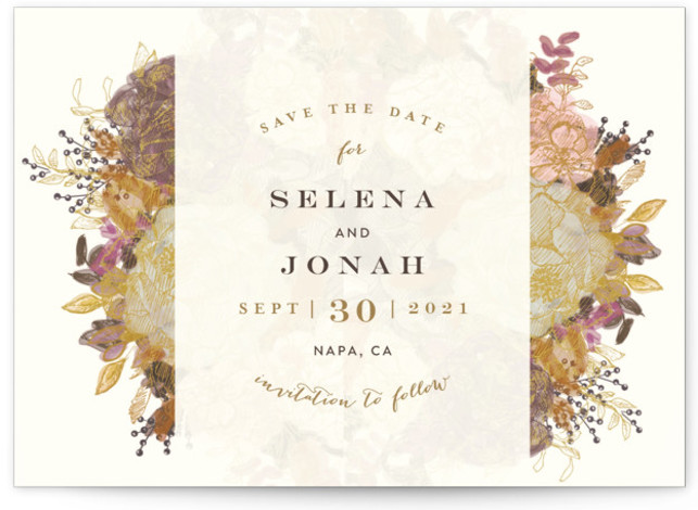 This is a landscape botanical, colorful Save the Dates by Phrosne Ras called Floral Feast with Standard printing on Signature in Postcard Flat Card format. Smart and chic, our indie designed postcards let you announce your wedding date while saving ...