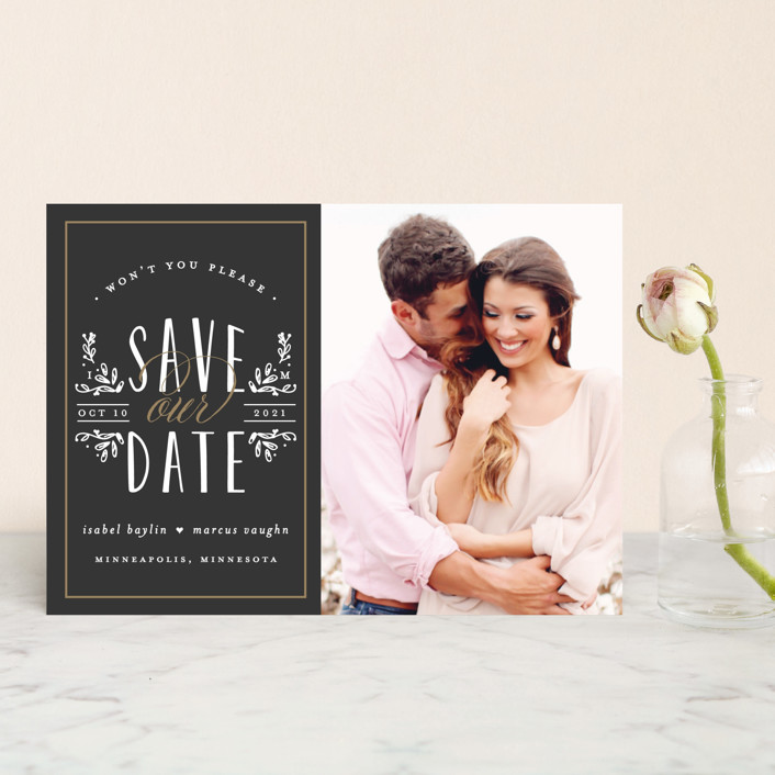 """Tiny Initials"" - Rustic Save The Date Postcards in Charcoal by Susan Brown."