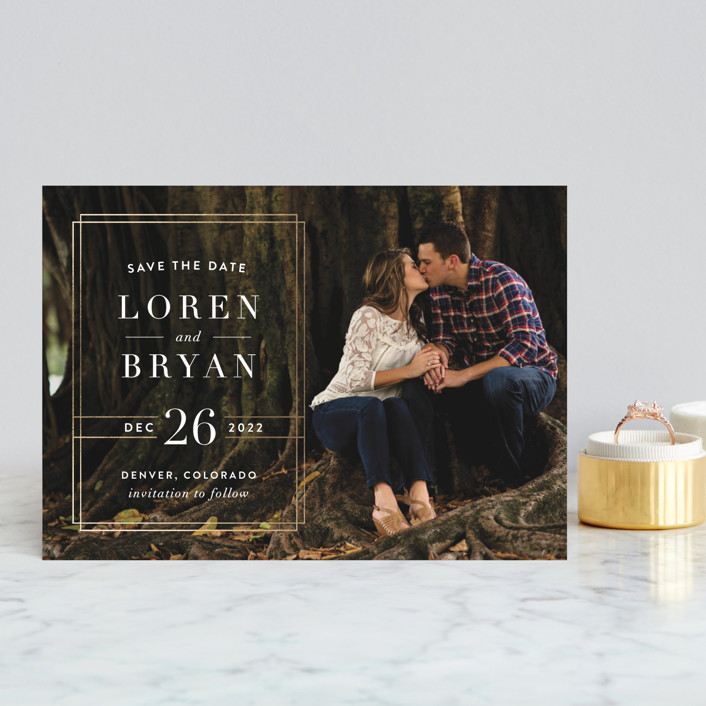 """Modern Elegance"" - Modern Save The Date Postcards in Golden by Alyssa Graves."