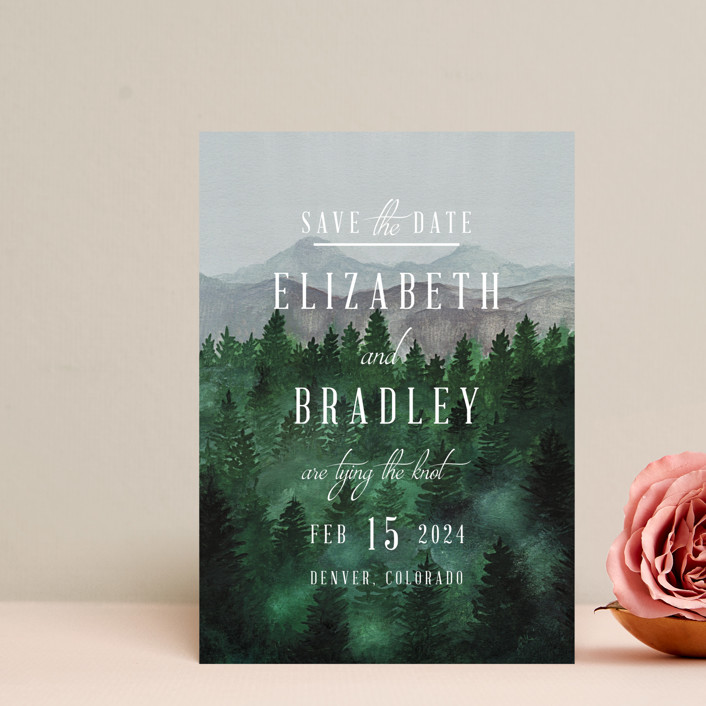 """""""Adventure Awaits"""" - Rustic Save The Date Postcards in Smoke by Elly."""