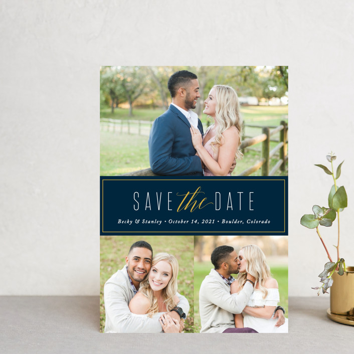 """""""Opulent"""" - Save The Date Postcards in Midnight by Jessica Williams."""