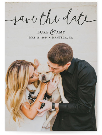 This is a landscape, portrait, square orientation classic and formal, black Save the Dates by Christine Taylor called Pretty Love with Standard printing on Signature in Postcard Flat Card format. Announce your upcoming marriage with this classic, typographic, one photo ...