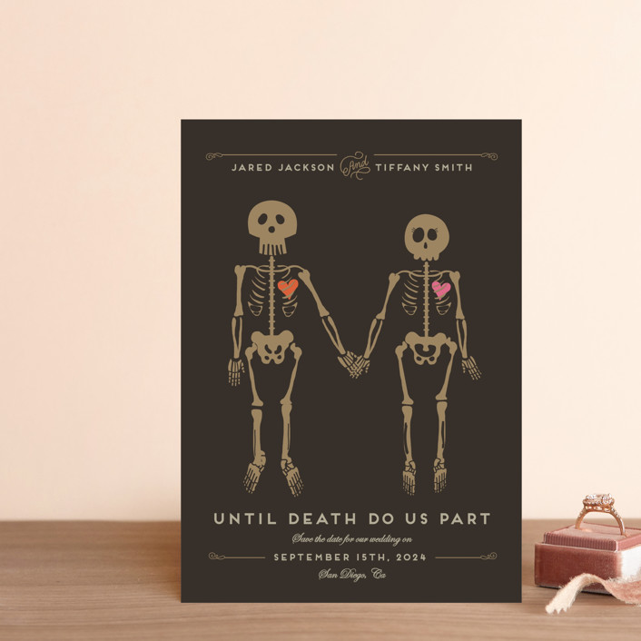 """Until Death"" - Whimsical & Funny Save The Date Postcards in Golden by Katie Zimpel."