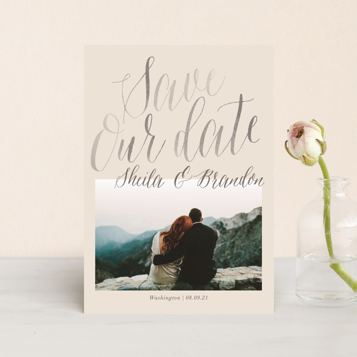 """Soft Script"" - Bohemian Save The Date Postcards in Pearl by Baumbirdy."