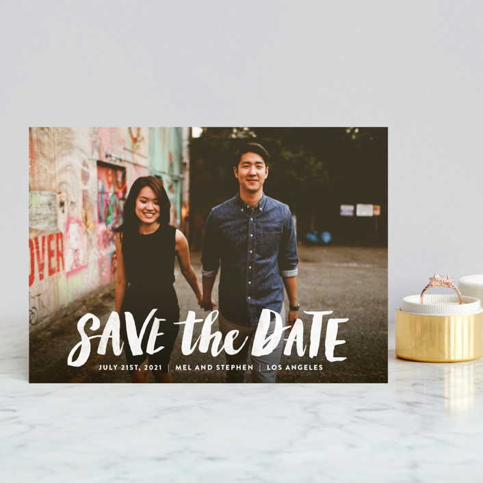 """Brush Type"" - Save The Date Postcards in Cotton by Hooray Creative."