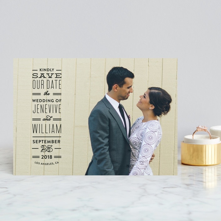 """""""Editor"""" - Modern Save The Date Postcards in Noir by Maddy Hague."""