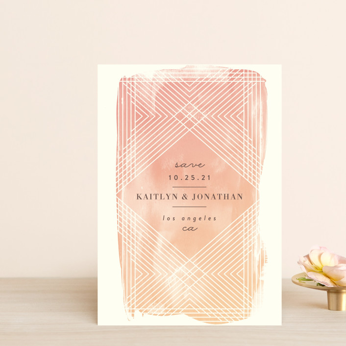 """Masked Wash"" - Save The Date Postcards in Passion Fruit by Rebecca Bowen."