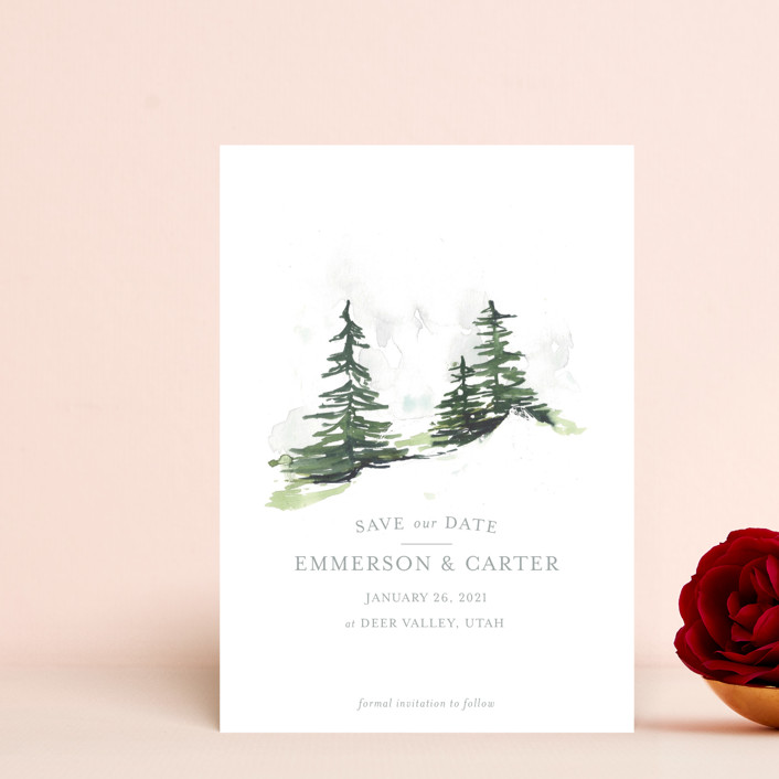 """""""On the Slopes"""" - Rustic Save The Date Postcards in Fog by Mere Paper."""
