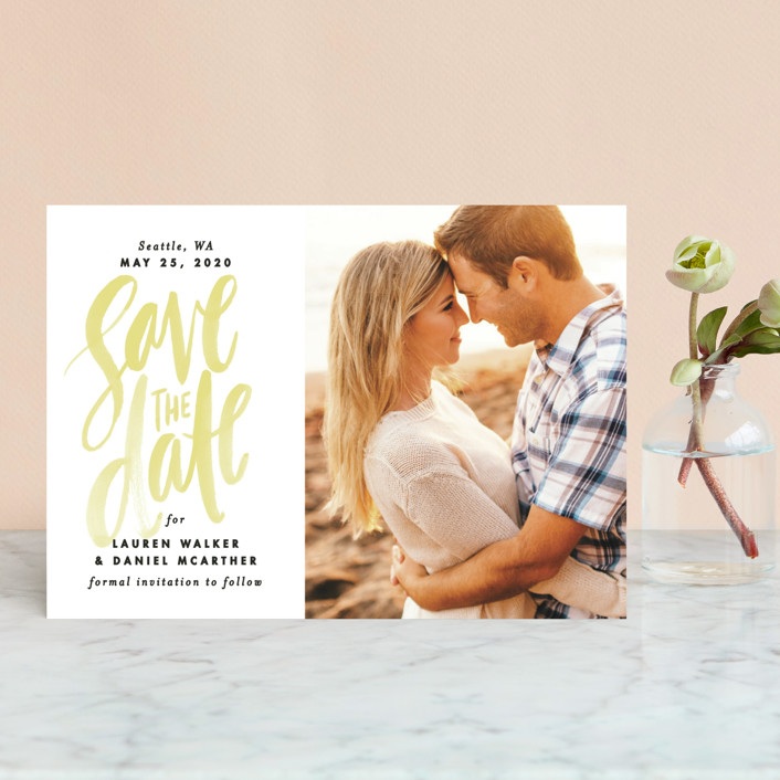"""""""Watercolor Lettering"""" - Bohemian Save The Date Postcards in Buttercup by Alethea and Ruth."""
