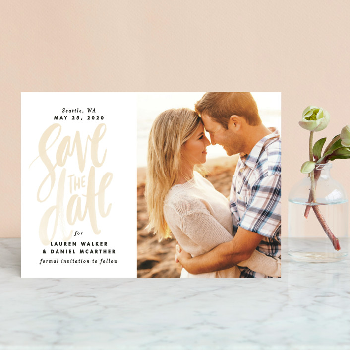 """Watercolor Lettering"" - Bohemian Save The Date Postcards in Seashell by Alethea and Ruth."