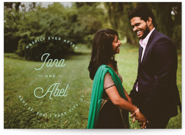 This is a landscape, portrait modern, green Save the Dates by Shirley Lin Schneider called Fairytale with Standard printing on Signature in Postcard Flat Card format. A minimalist one photo, full bleed save the date card featuring modern script typography ...