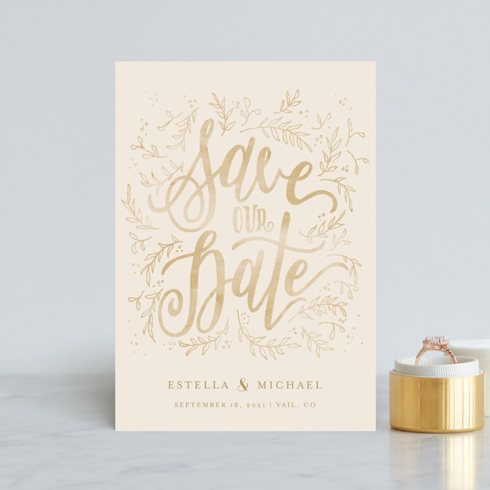 """Hand Lettered Sun-kissed Vines"" - Rustic Save The Date Postcards in Golden by Grace Kreinbrink."