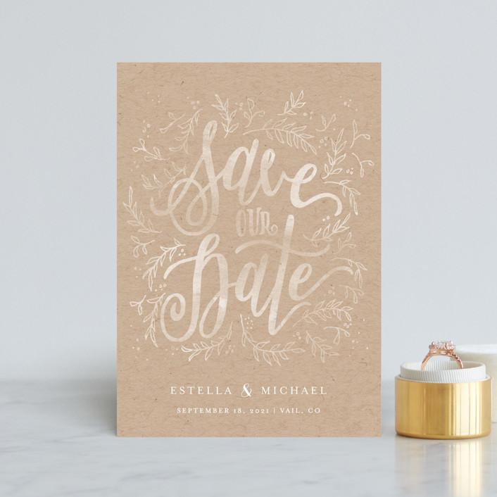 """Hand Lettered Sun-kissed Vines"" - Rustic Save The Date Postcards in Kraft by Grace Kreinbrink."