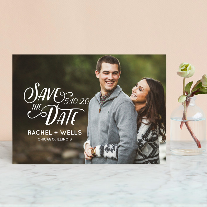 """Wyoming"" - Bohemian Save The Date Postcards in Pearl by Erika Firm."
