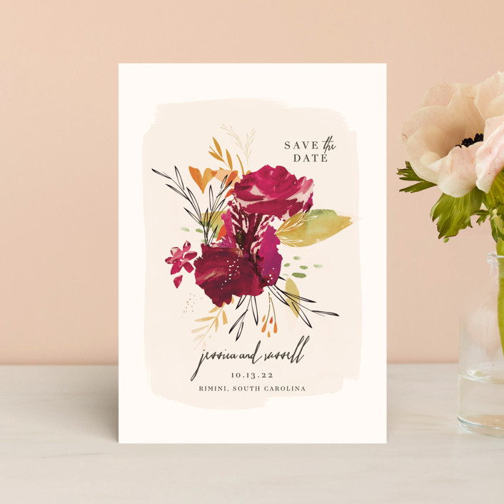 """""""Angelica"""" - Save The Date Postcards in Leaf by Lori Wemple."""