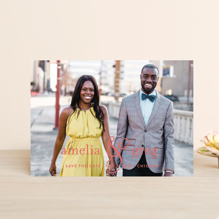 """Two Become One"" - Modern Save The Date Postcards in Cloud by Kimberly FitzSimons."
