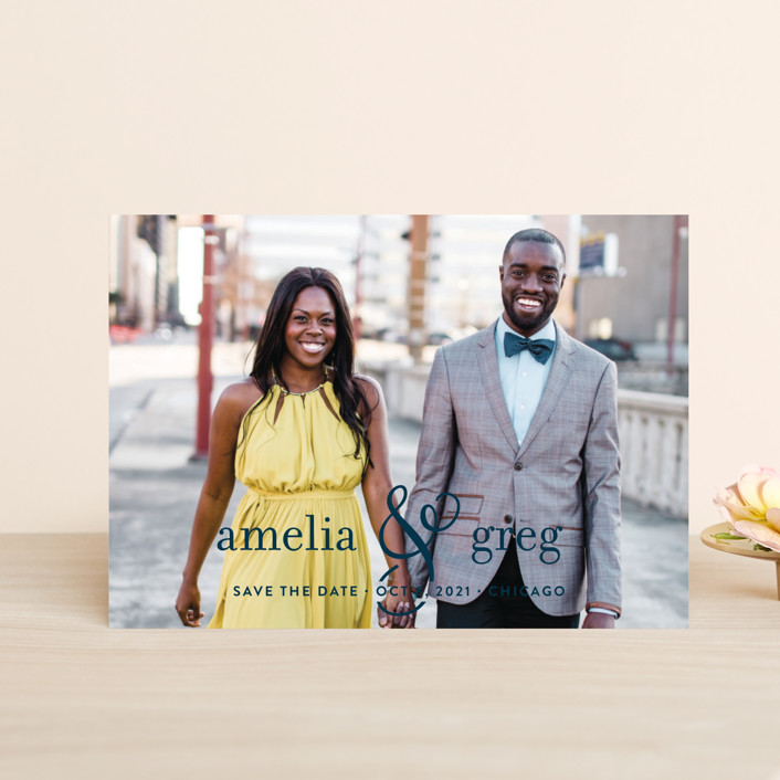 """""""Two Become One"""" - Modern Save The Date Postcards in Cloud by Kimberly FitzSimons."""