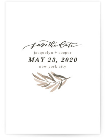 This is a landscape, portrait botanical, brown Save the Dates by Wildfield Paper Co. called Olive Branch with Standard printing on Signature in Postcard Flat Card format. A bold, elegant, simple and fresh design to compliment your favorite photo!