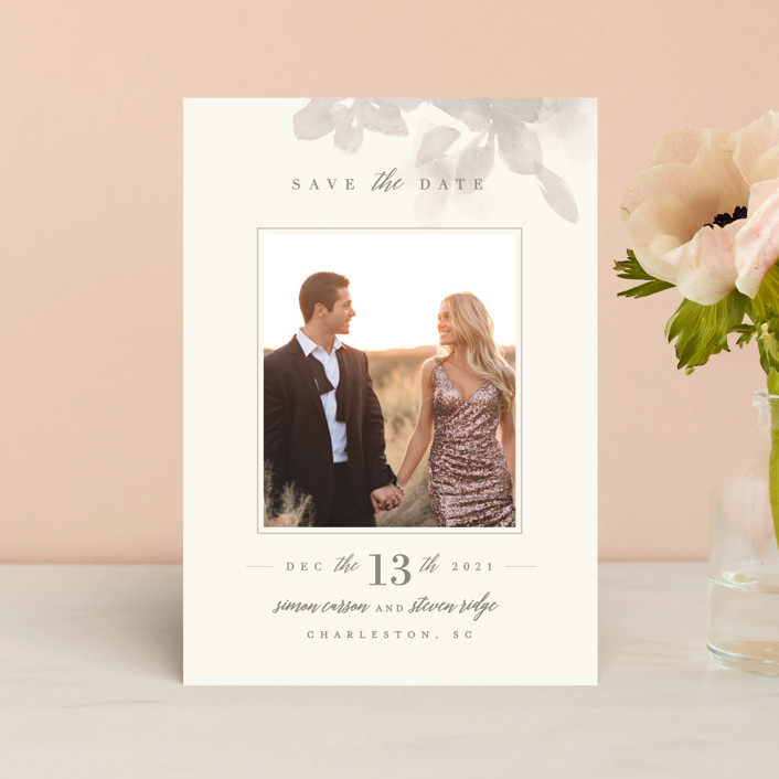 """""""Formal Frame"""" - Save The Date Postcards in Mist by Lori Wemple."""