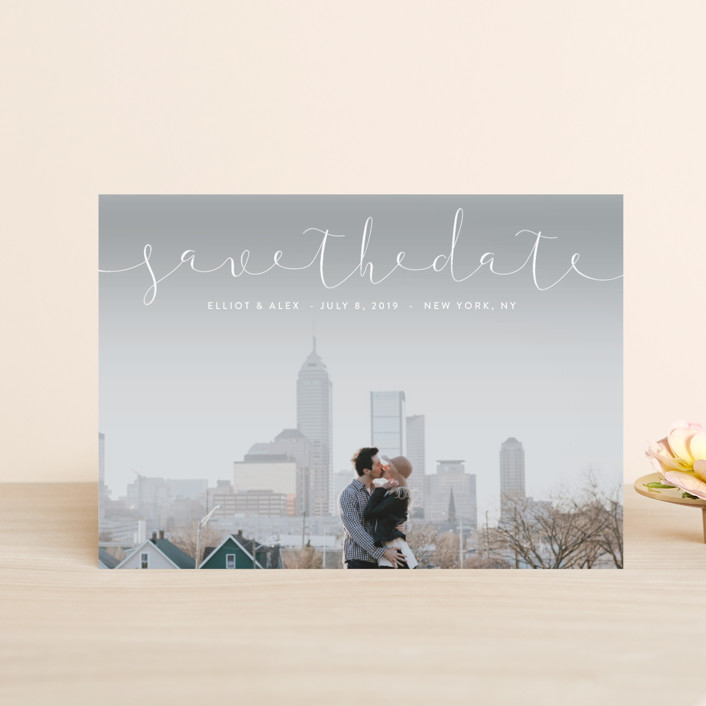 """""""Ribbon"""" - Save The Date Postcards in Sky by Erin Deegan."""
