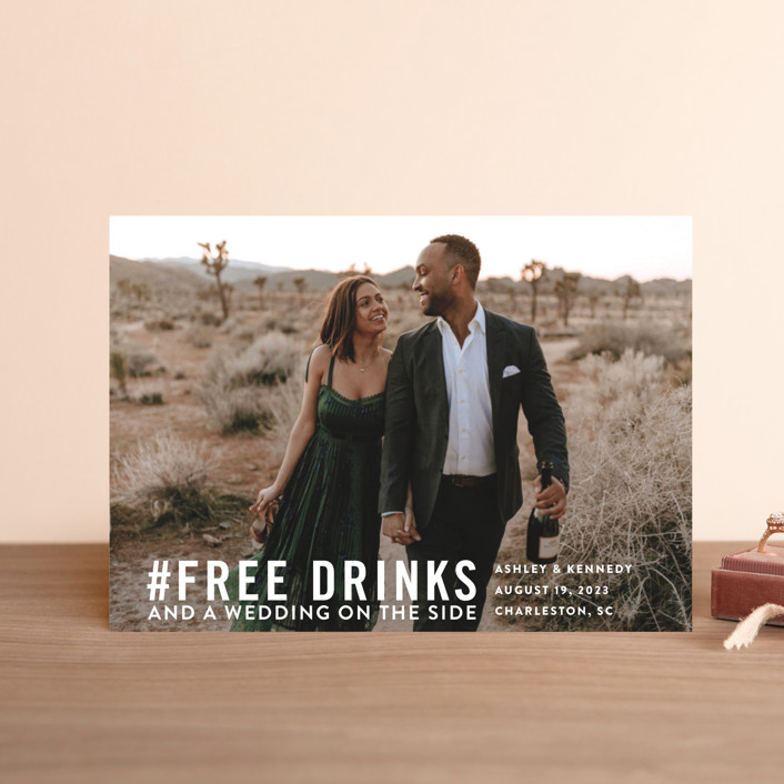"""Free Drinks"" - Save The Date Postcards in Pearl by Jennifer Lew."