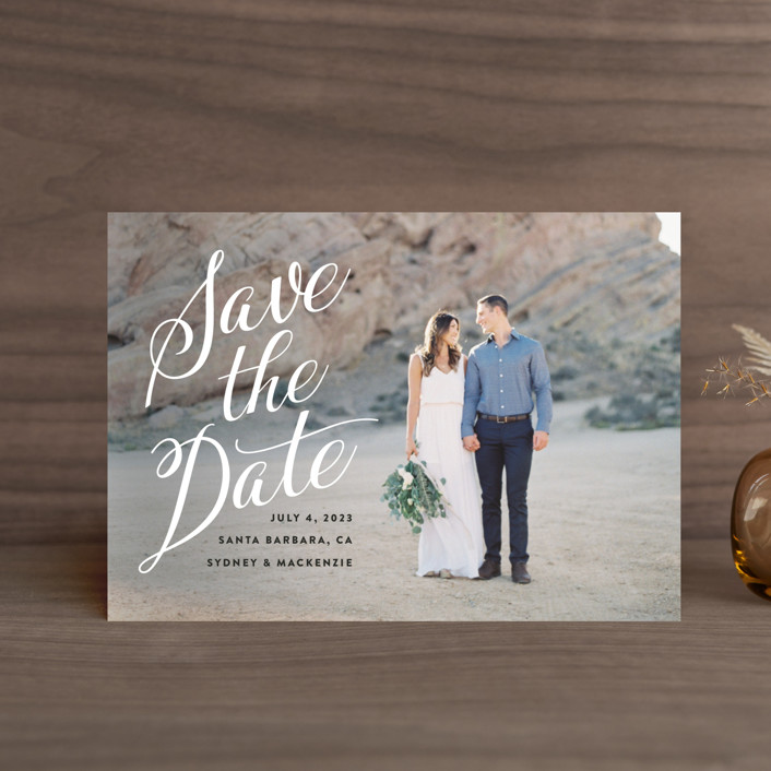 """""""Mi Amore"""" - Save The Date Postcards in Ivory by Jennifer Lew."""