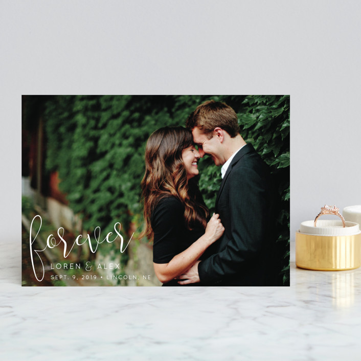 """""""Forever Love"""" - Save The Date Postcards in Cloud by Christine Taylor."""