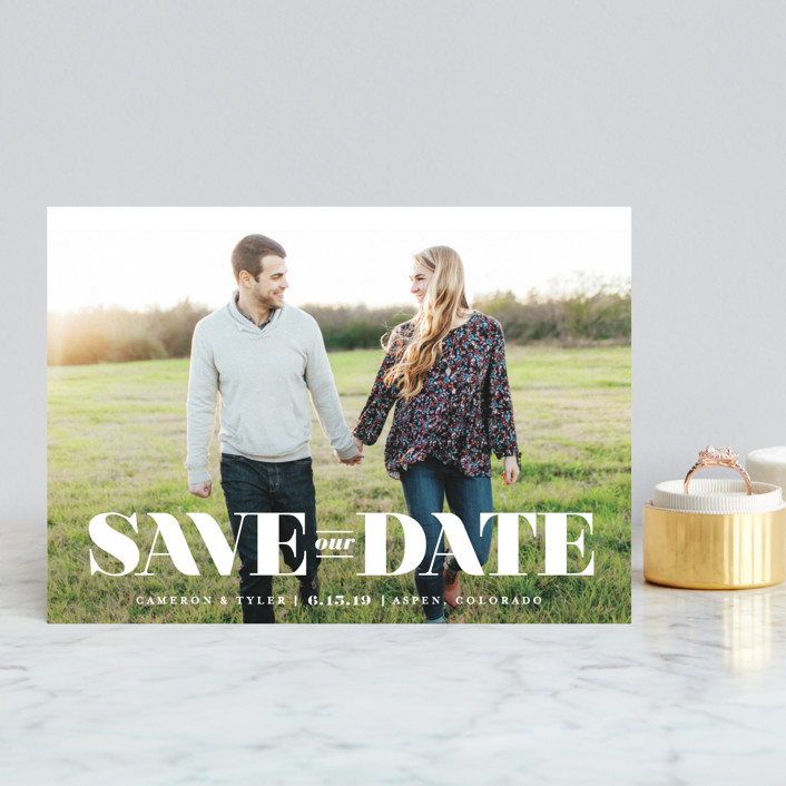 """""""nouvelle"""" - Save The Date Postcards in Snow by Jennifer Wick."""