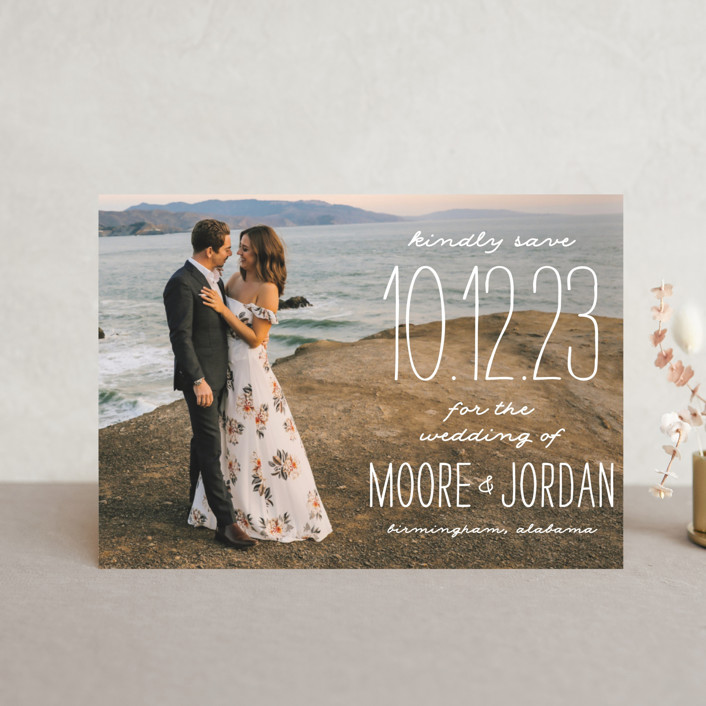 """""""Earthy"""" - Bohemian Save The Date Postcards in Pearl by Owl and Toad."""